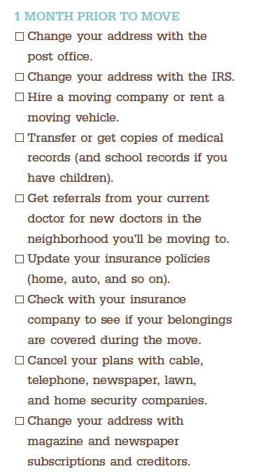 check list for moving